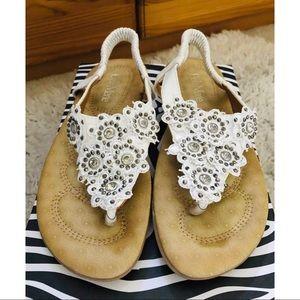 White Floral Embellished Sandals - 8